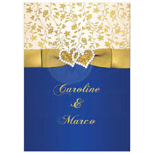 blue and gold ribbon 40th wedding anniversary invite royal blue ivory gold floral