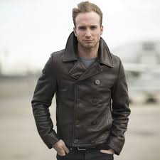 brown motorcycle jacket naval short leather peacoat cockpit usa