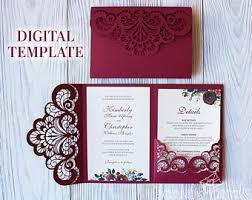 tri fold invitation template wedding invitation template etsy