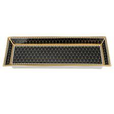antler trellis black fine bone china rectangular tray halcyon days