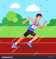 runner running competitions park on stock vector 587727620