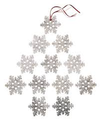 set of 12 silver glitter snowflake ornaments created