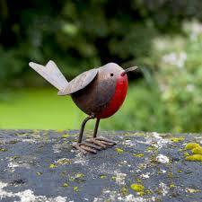 set of 3 tin metal robin bird garden ornaments gardens2you