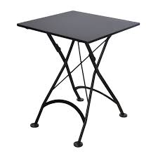 Black Metal Bistro Table 24 Inch Square European Folding Steel Metal Bistro Table