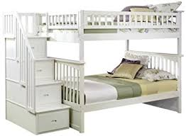 Amazoncom Columbia Staircase Bunk Bed Full Over Full White - Full over full bunk bed