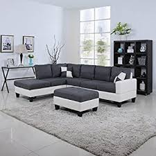 Gray Fabric Sectional Sofa Amazon Com 3pc Modern Reversible Grey Charcoal Sectional Sofa