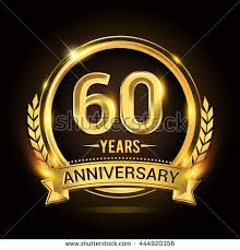 60 years anniversary celebrating 60 years anniversary logo golden stock vector