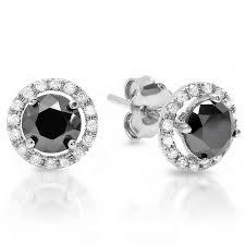 black diamond earrings studs 1 82ct decorative halo pave black diamonds stud earrings