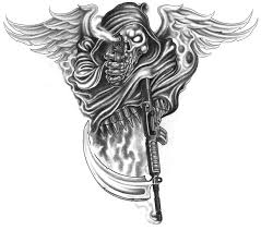 wing skull gun stencil pictures to pin on