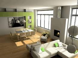 l shaped living dining room layout wooden floor green decorative