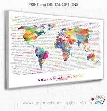 World Map Canvas World Map With Quote Wonderful World Word Art Inspirational