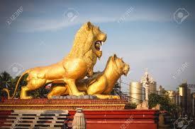 gold lion statues sihanoukville cambodia golden lion statue circle sihanouk