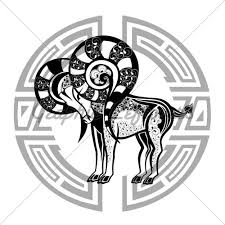 zodiac wheel with sign of aries tattoo design gl stock images