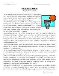 comprehension worksheet basketball time
