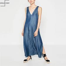 maxi bureau nouveau tencel élégant demin robe hamac longue fente bureau