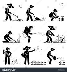 Gardening Tools by Gardener Farmer Using Gardening Tools Equipment Stock Vector