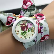 bracelet design watches images New design geneva ladies flower cloth wristwatch fashion women jpg