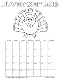 printable november calendars holiday favorites