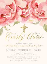 communion invitation everly girl s holy communion invitation pink watercolor