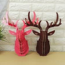 Wall Hanging Picture For Home Decoration 3d Wooden Elk Head Wall Hanging Craft Diy Model Animal Wildlife