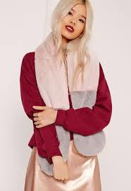 pink u0026 grey contrast faux fur scarf missguided