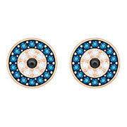 duo evil eye pierced earrings multi colored gold plating