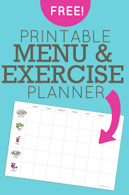 menu exercise planner free printable exercise planner
