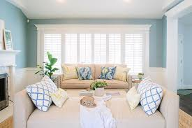 beige and blue living room with wainscoting transitional