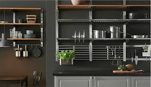 wall hung kitchen cabinets the open shelves in stainless steel and ash veneer of the
