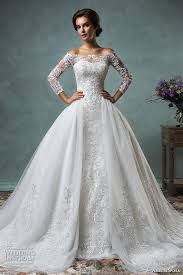sleeve lace wedding dress datchable overskirt the shoulders sleeves lace wedding