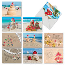 amazon com santa beach thank you note card 18 boxed cards