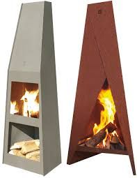 Outdoor Metal Fireplaces - outdoor fireplace designs from fonte flamme