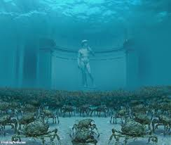statue of david underwater with crabs under the sea deep