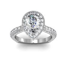 deco engagement ring pave pear shaped halo deco engagement rings
