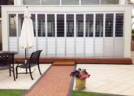 Exterior Shades For Patio Aluminum Exterior Window Shutters Indoor Outdoor Budget Blinds