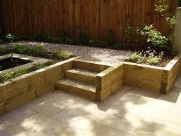 with railway sleepers back garden ideas and garden borders garden