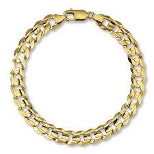 gold link bracelet with diamonds images Men 39 s curb link bracelet 10k yellow gold 9 quot length 422658409 kay jpg