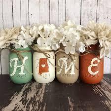 alabama home decor home state mason jar set sage orange and tan rustic home decor
