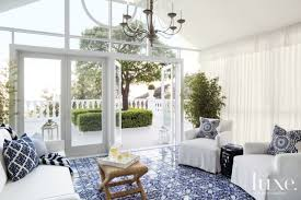 Modern Sunroom White Modern Sunroom With Blue Tile Floors Luxe Interiors Design