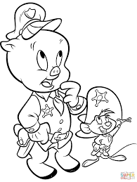 porky pig and speedy gonzalez coloring page free printable