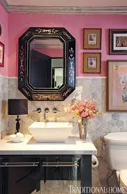 pink and black bathroom ideas create a smashing powder room traditional home