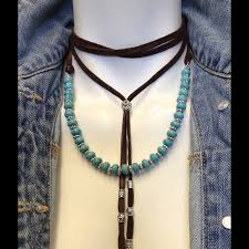 leather turquoise necklace images Free people jewelry genuine leather turquoise lariat necklace jpg