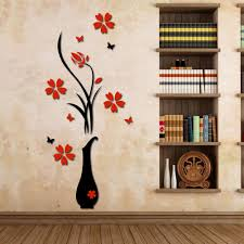 popular floral wall sticker buy cheap floral wall sticker lots wall stickers acrylic 3d plum flower vase wall stickers home decor wall decal red floral patterns
