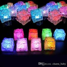 New Year Lighting Decorations by Flashing Glowing Led Ice Cubes Sparkling Light Up Water