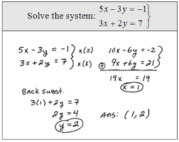 systems of linear equations elimination method lessons tes teach