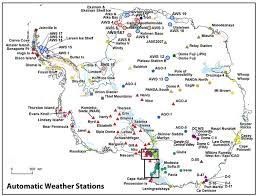 map of antarctic stations and climate automatic weather stations on glaciers