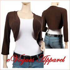 Plus Size Cropped Cardigan Brown 3 4 Sleeve Plus Size Cropped Bolero Shrug Evogues Apparel