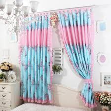 Turquoise Ruffle Curtains European Princes Blue Rose Ruffle Curtain Window Treatment