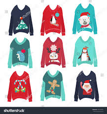 vector cute ugly christmas sweaters set stock vector 734120266