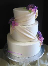 elegant ivory wedding cake with purple peonies lavender r u2026 flickr